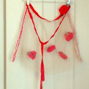 Vintage mesh apron with red yarn flowers
